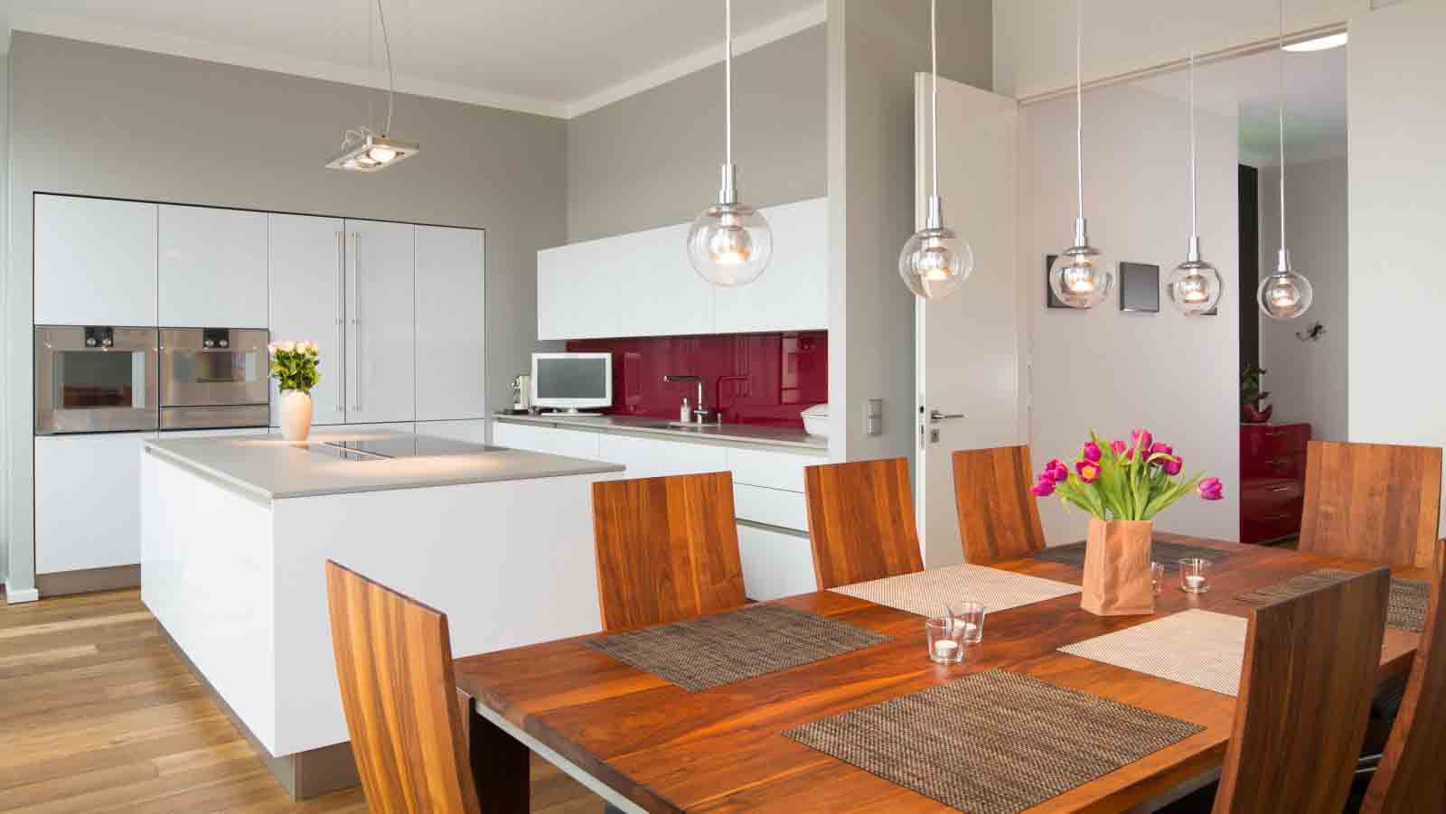 Luxury Vinyl Plank in Modern Dining Room and Kitchen
