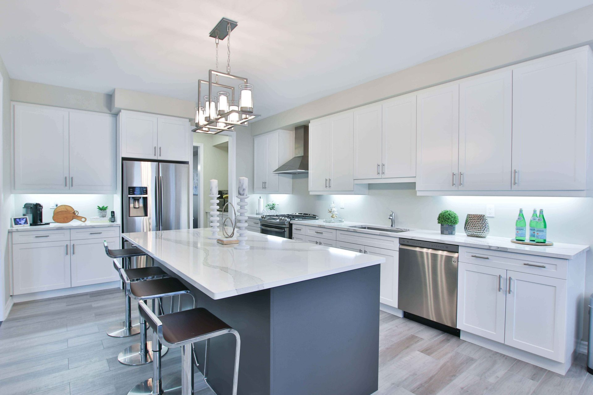 Blue Kitchen Cabinet Island with white accent