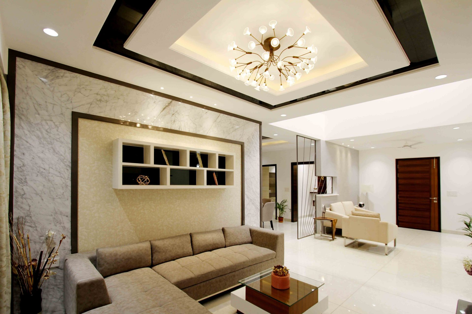 Floor Tile with glossy look in living room